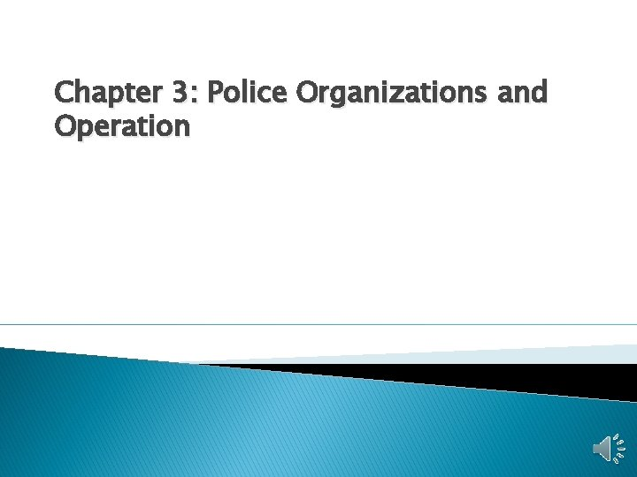Chapter 3: Police Organizations and Operation