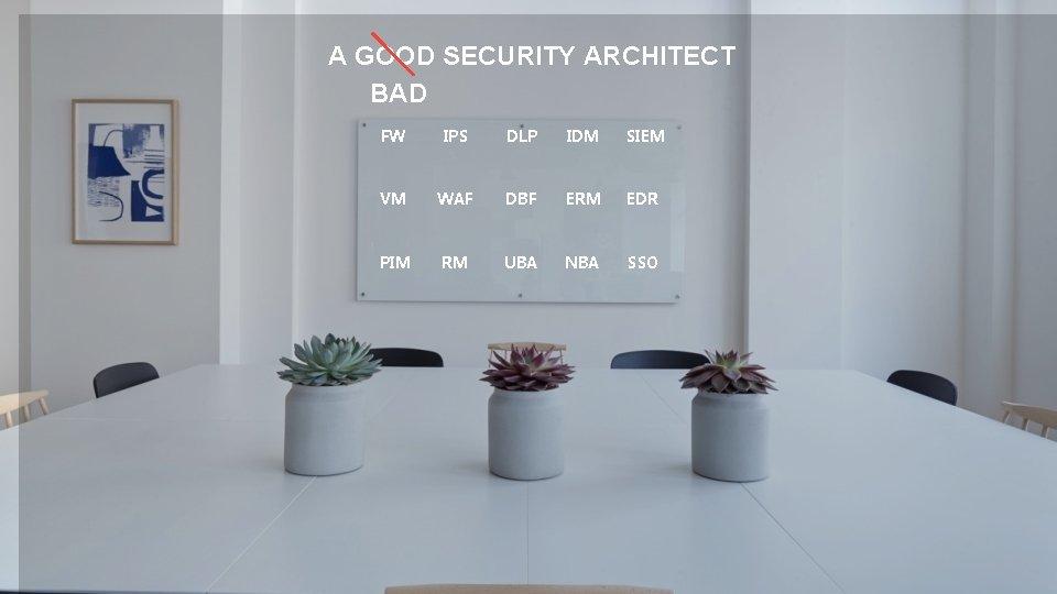 A GOOD SECURITY ARCHITECT BAD FW IPS DLP IDM SIEM VM WAF DBF ERM