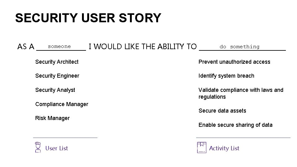 SECURITY USER STORY someone do something I WOULD LIKE THE ABILITY TO ___________ AS