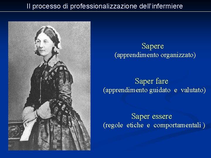 Il processo di professionalizzazione dell'infermiere Sapere (apprendimento organizzato) Saper fare (apprendimento guidato e valutato)