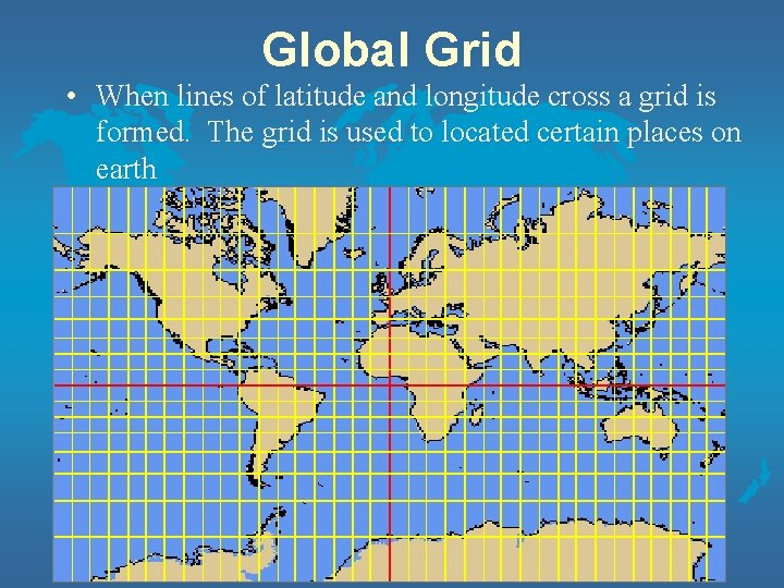 Global Grid • When lines of latitude and longitude cross a grid is formed.