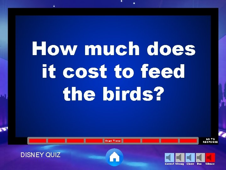 How much does it cost to feed the birds? GO TO RESPONSE Start Timer