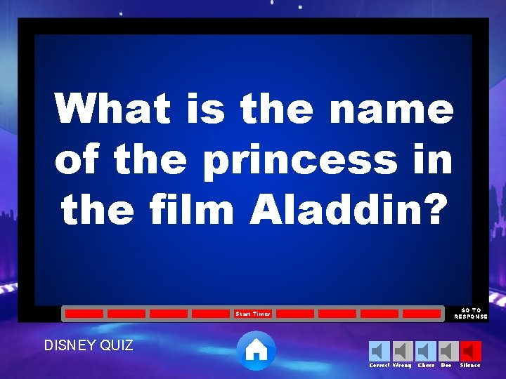 What is the name of the princess in the film Aladdin? GO TO RESPONSE