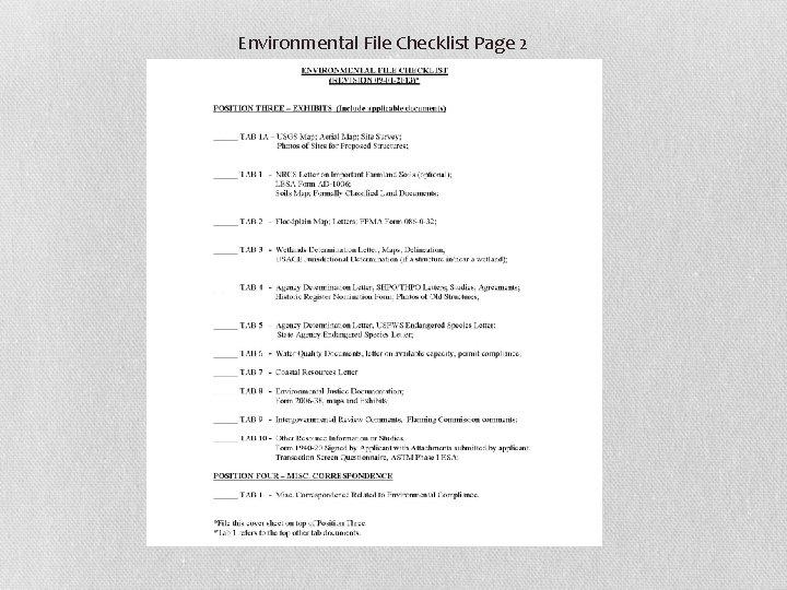 Environmental File Checklist Page 2