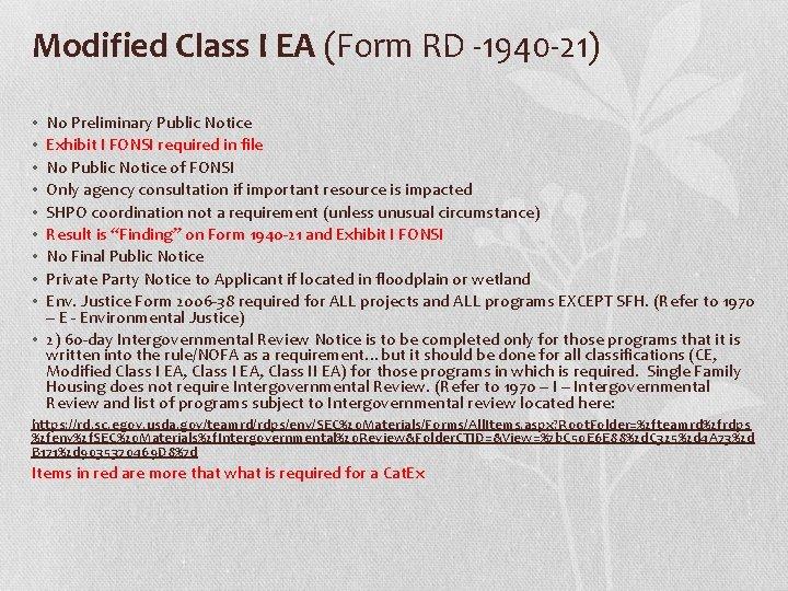 Modified Class I EA (Form RD -1940 -21) No Preliminary Public Notice Exhibit I