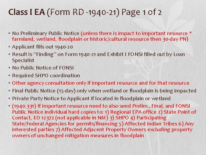 Class I EA (Form RD -1940 -21) Page 1 of 2 • No Preliminary