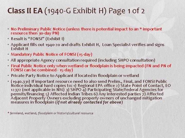 Class II EA (1940 -G Exhibit H) Page 1 of 2 • No Preliminary