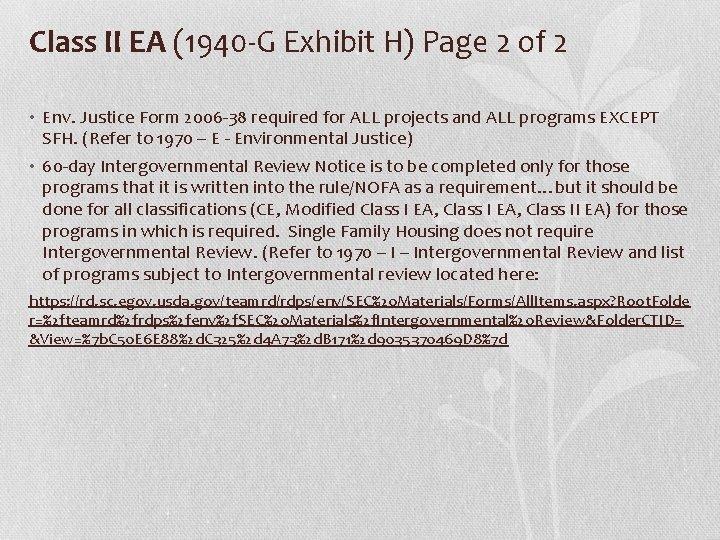 Class II EA (1940 -G Exhibit H) Page 2 of 2 • Env. Justice