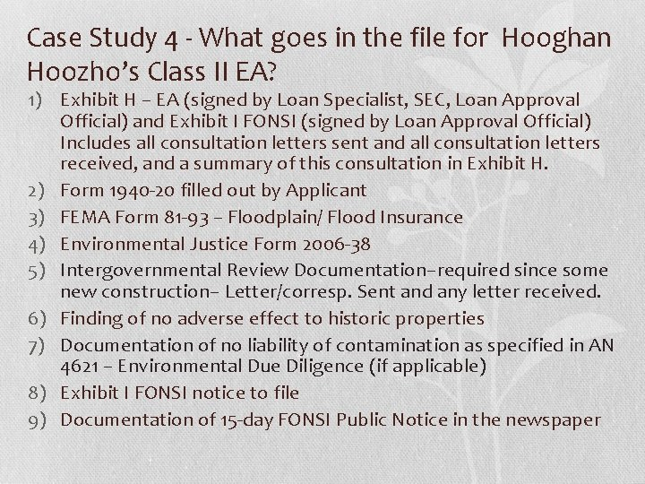 Case Study 4 - What goes in the file for Hooghan Hoozho's Class II