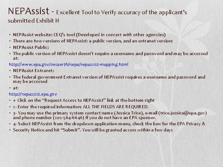 NEPAssist - Excellent Tool to Verify accuracy of the applicant's submitted Exhibit H NEPAssist