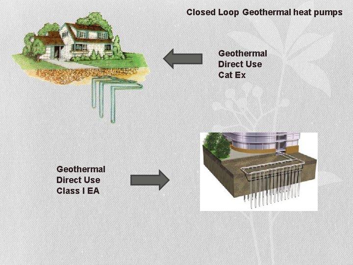 Closed Loop Geothermal heat pumps Geothermal Direct Use Cat Ex Geothermal Direct Use Class