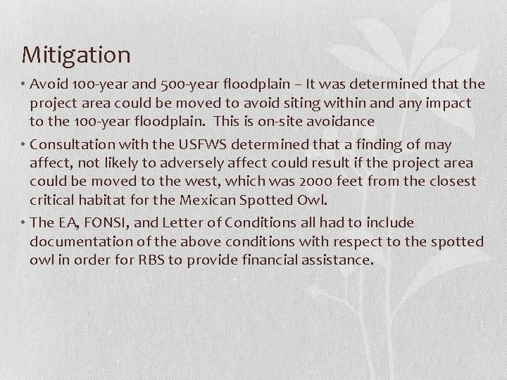 Mitigation • Avoid 100 -year and 500 -year floodplain – It was determined that