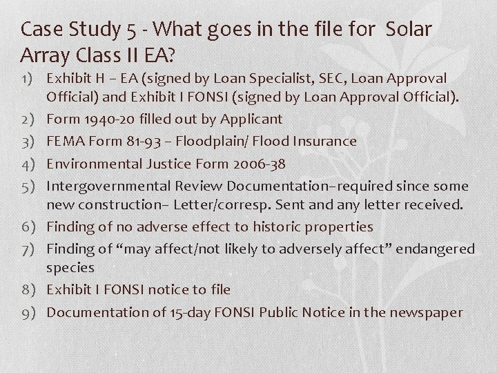 Case Study 5 - What goes in the file for Solar Array Class II