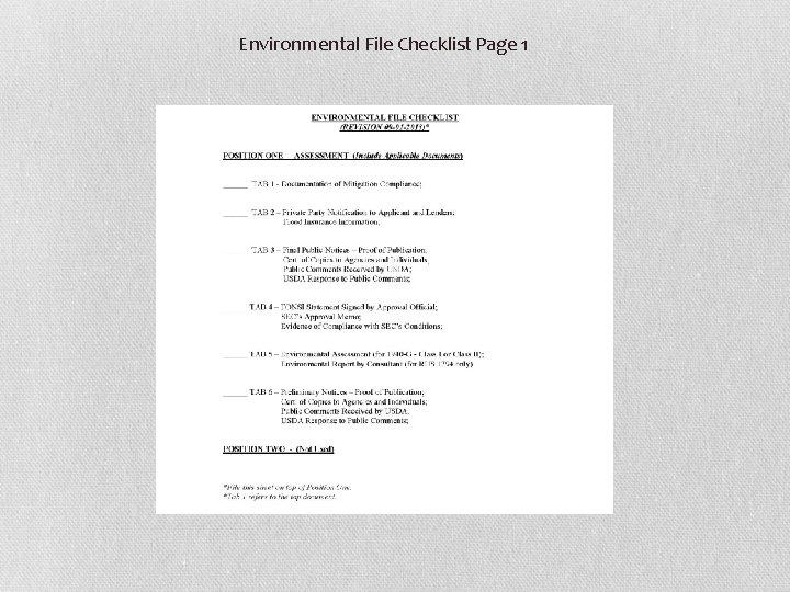 Environmental File Checklist Page 1