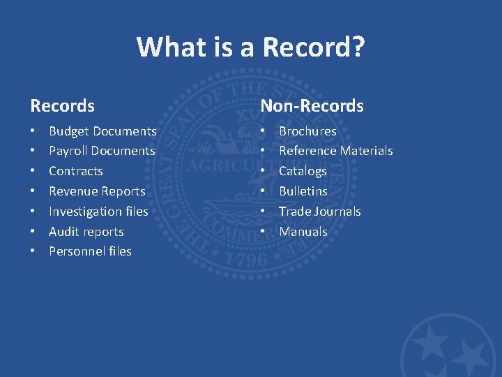 What is a Record? Records • • Budget Documents Payroll Documents Contracts Revenue Reports