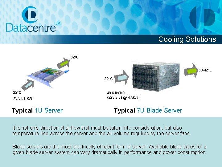 Cooling Solutions 32 o. C 38 -42 o. C 22 o. C 75. 5