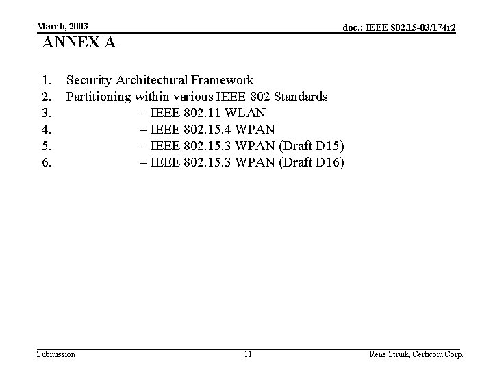 March, 2003 doc. : IEEE 802. 15 -03/174 r 2 ANNEX A 1. 2.