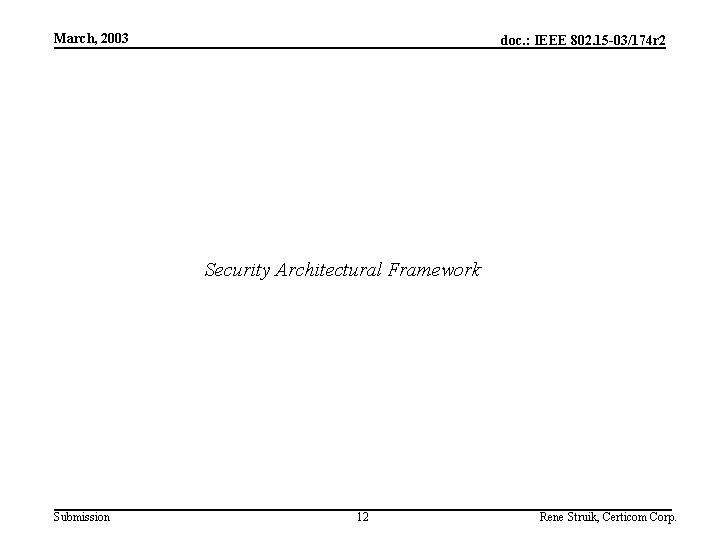 March, 2003 doc. : IEEE 802. 15 -03/174 r 2 Security Architectural Framework Submission