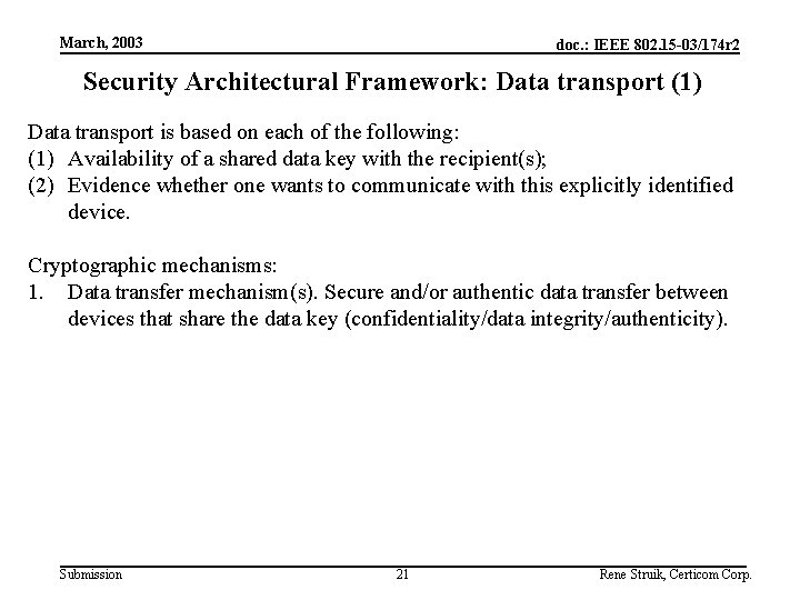 March, 2003 doc. : IEEE 802. 15 -03/174 r 2 Security Architectural Framework: Data