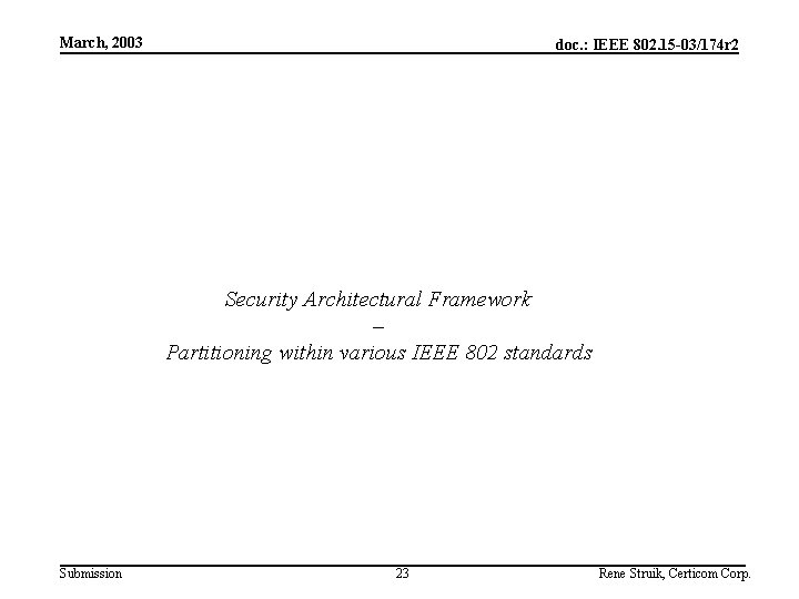 March, 2003 doc. : IEEE 802. 15 -03/174 r 2 Security Architectural Framework –