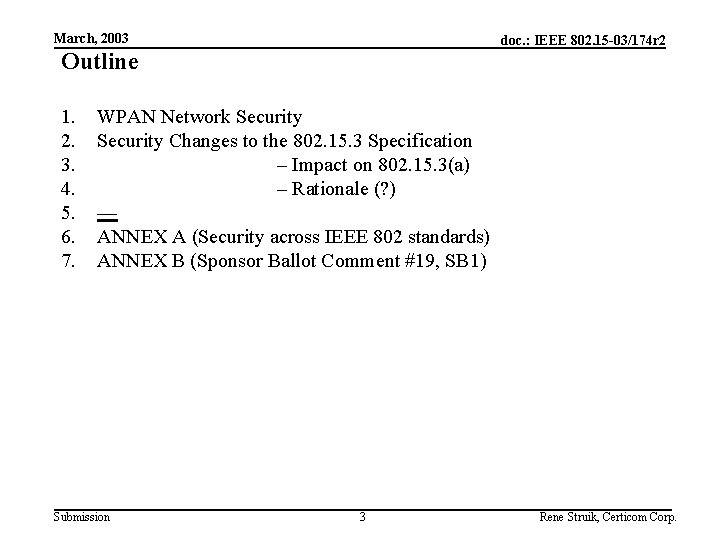 March, 2003 doc. : IEEE 802. 15 -03/174 r 2 Outline 1. 2. 3.