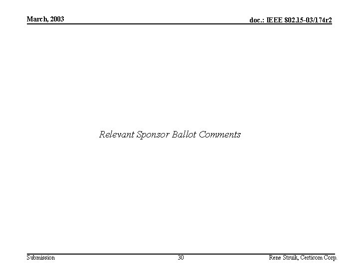 March, 2003 doc. : IEEE 802. 15 -03/174 r 2 Relevant Sponsor Ballot Comments