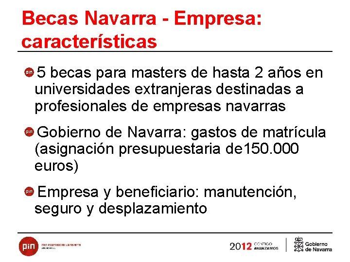 Becas Navarra - Empresa: características 5 becas para masters de hasta 2 años en