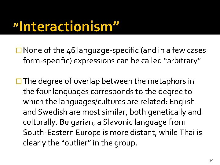 """ory 3 """"Interactionism"""" � None of the 46 language-specific (and in a few cases"""