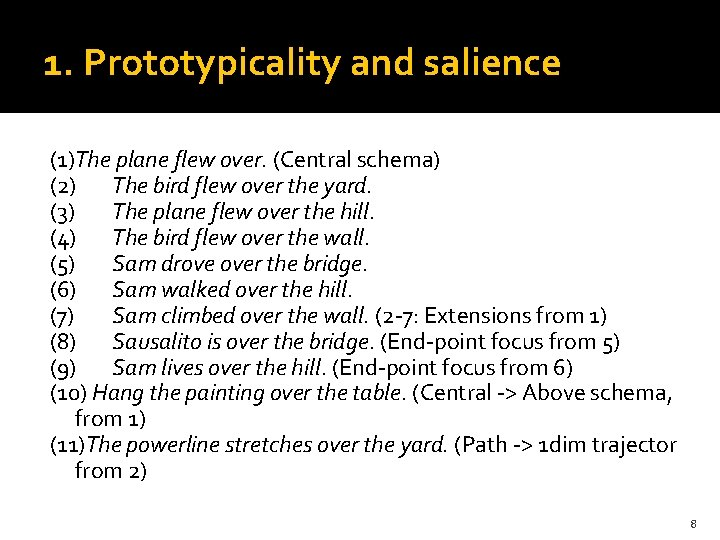 1. Prototypicality and salience (1)The plane flew over. (Central schema) (2) The bird flew