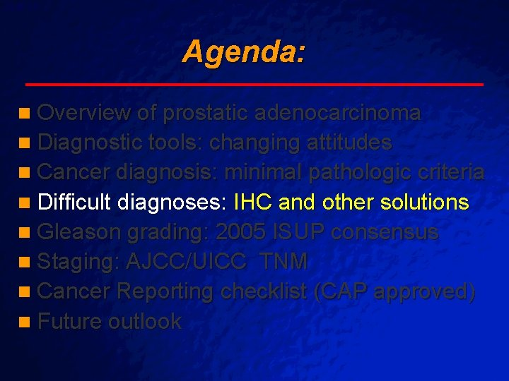 cancer cap checklist