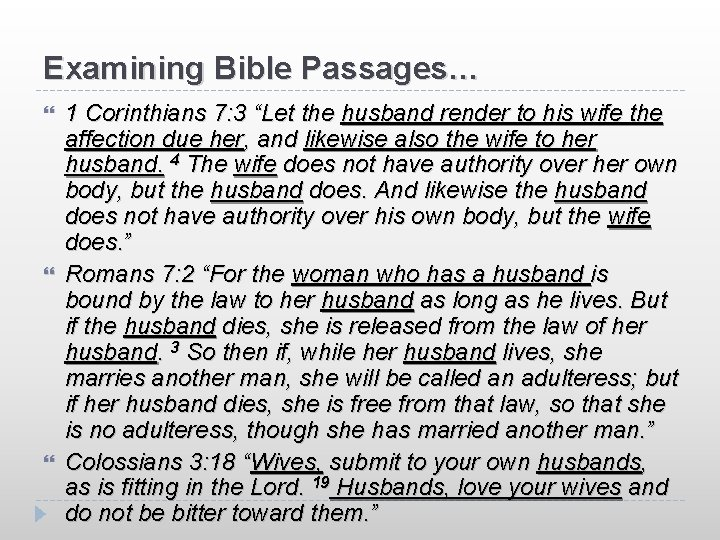 """Examining Bible Passages… 1 Corinthians 7: 3 """"Let the husband render to his wife"""