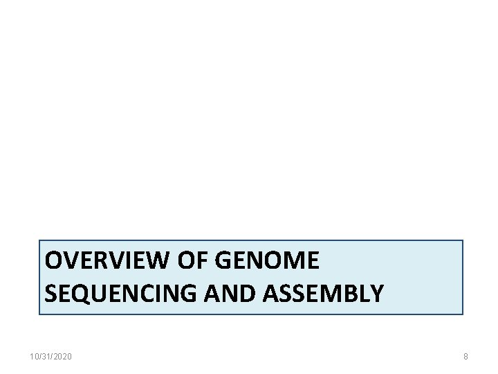 OVERVIEW OF GENOME SEQUENCING AND ASSEMBLY 10/31/2020 8