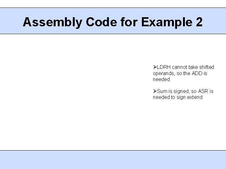 Assembly Code for Example 2 LDRH cannot take shifted operands, so the ADD is