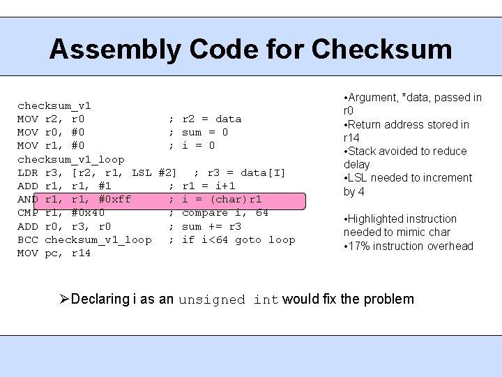 Assembly Code for Checksum checksum_v 1 MOV r 2, r 0 ; r 2