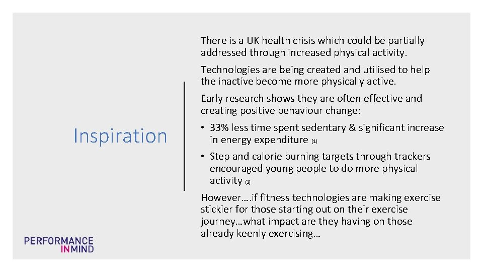 There is a UK health crisis which could be partially addressed through increased physical