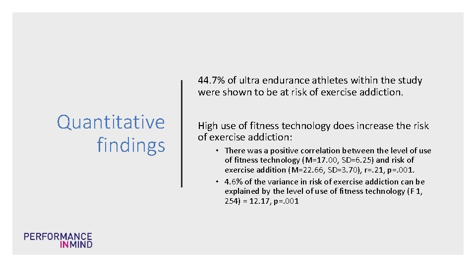 44. 7% of ultra endurance athletes within the study were shown to be at