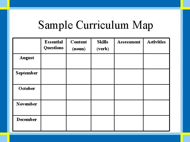 Sample Curriculum Map Essential Questions August September October November December Content (noun) Skills (verb)