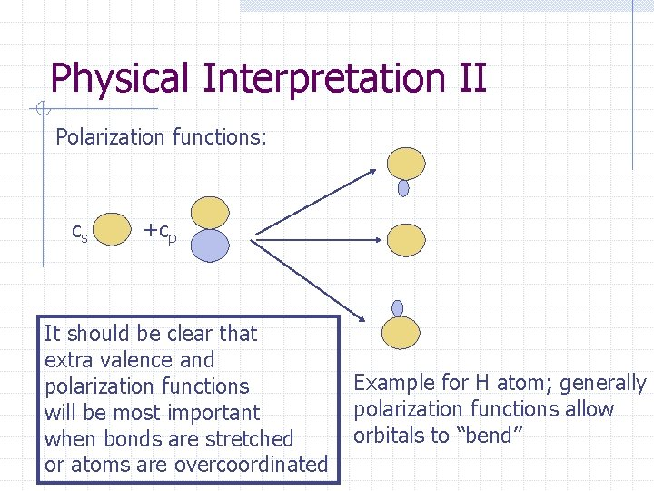Physical Interpretation II Polarization functions: cs +cp It should be clear that extra valence
