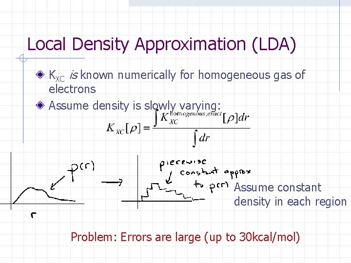 Local Density Approximation (LDA) KXC is known numerically for homogeneous gas of electrons Assume