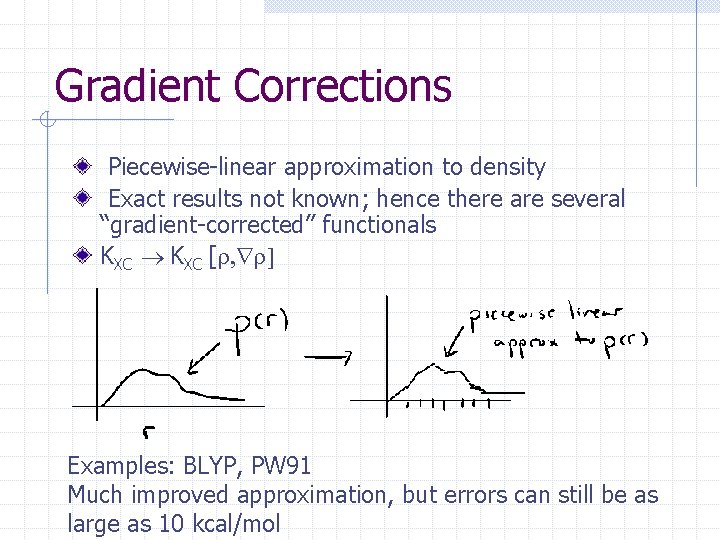 Gradient Corrections Piecewise-linear approximation to density Exact results not known; hence there are several