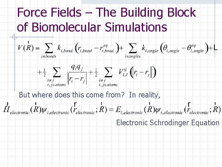 Force Fields – The Building Block of Biomolecular Simulations But where does this come