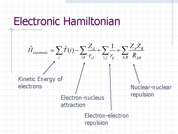 Electronic Hamiltonian Kinetic Energy of electrons Electron-nucleus attraction Electron-electron repulsion Nuclear-nuclear repulsion