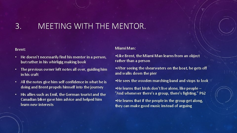 3. MEETING WITH THE MENTOR. Brent: Miami Man: • He doesn't necessarily find his