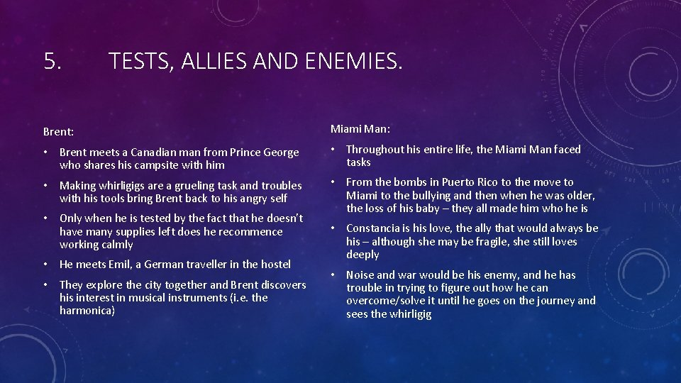 5. TESTS, ALLIES AND ENEMIES. Brent: Miami Man: • Brent meets a Canadian man