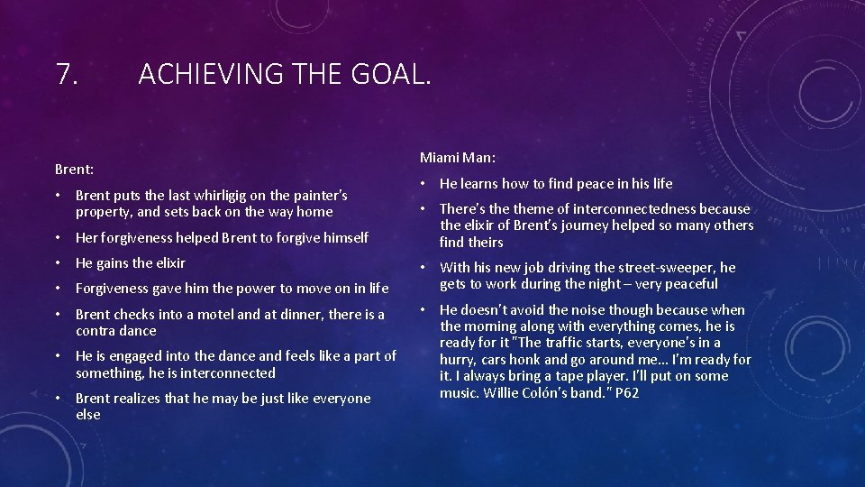 7. ACHIEVING THE GOAL. Brent: • Brent puts the last whirligig on the painter's