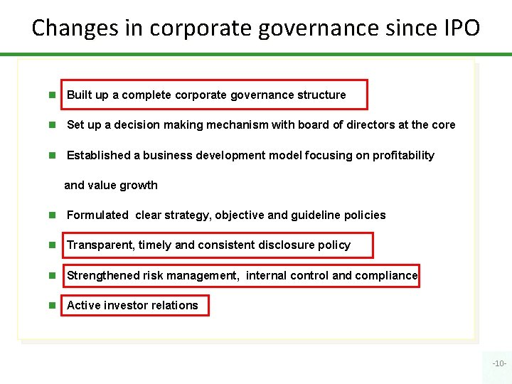 Changes in corporate governance since IPO n Built up a complete corporate governance structure