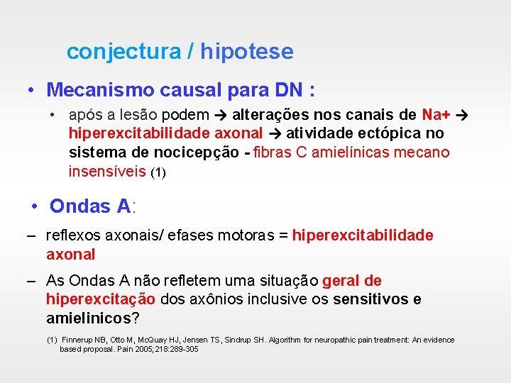 conjectura / hipotese • Mecanismo causal para DN : • após a lesão podem