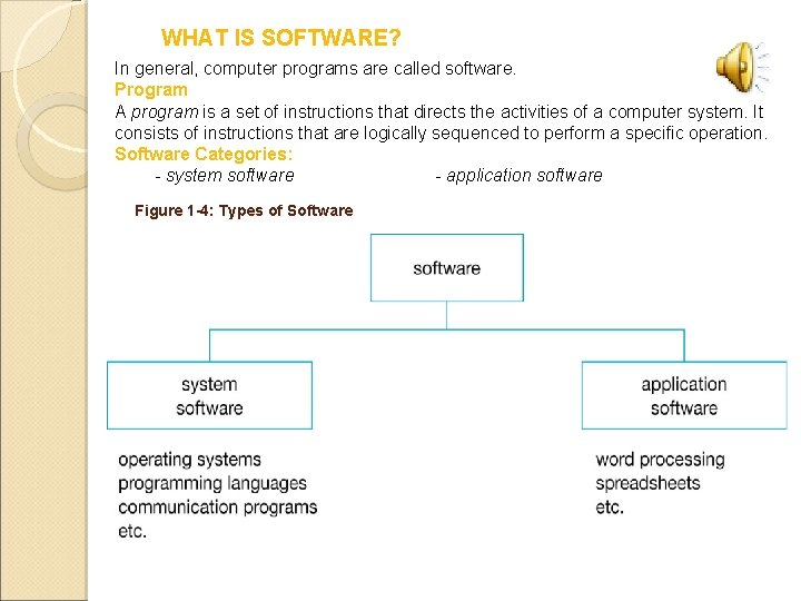 WHAT IS SOFTWARE? In general, computer programs are called software. Program A program is