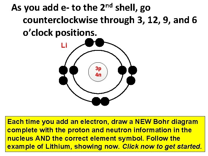 As you add e- to the 2 nd shell, go counterclockwise through 3, 12,