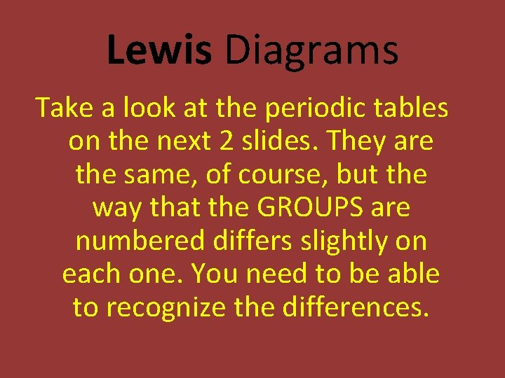 Lewis Diagrams Take a look at the periodic tables on the next 2 slides.